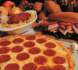 pasta, sandwiches, pizza