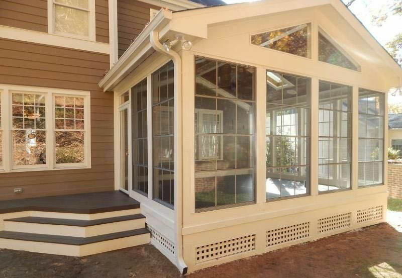 Sunroom with windows built by All Seasons