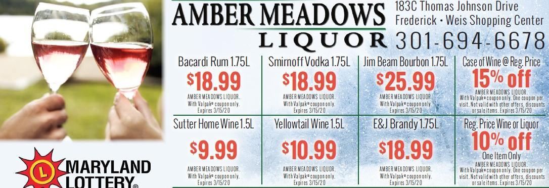 Amber Meadows Liquors banner Frederick, MD