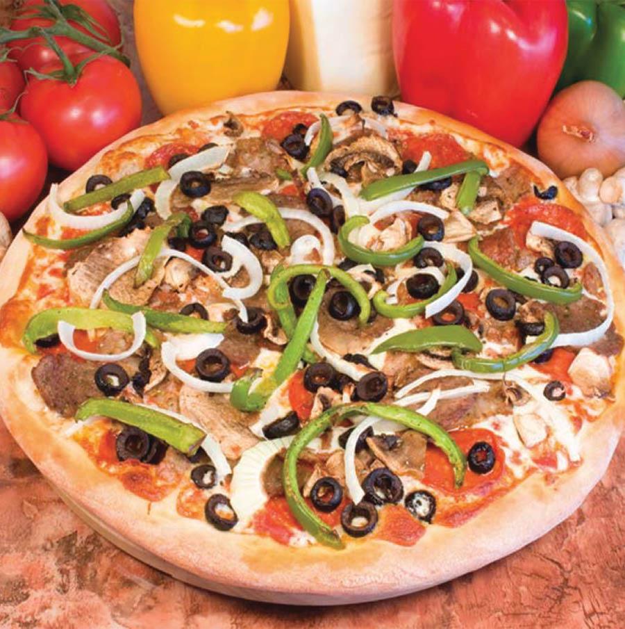 Ameci Pizza Kitchen deluxe pizza pie