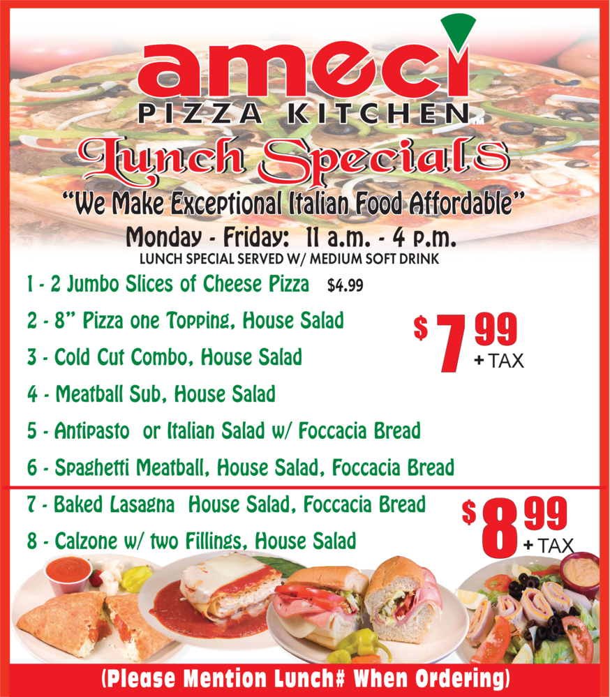 Call to order from Ameci's lunch specials menu