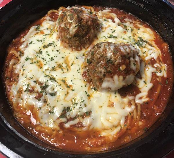 spaghetti and meatballs from Amicos in Dallas TX