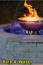 fire, waterfall, paver, design, curb appeal