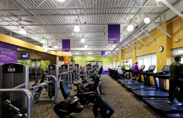 Huge selection of cardio equipment at Anytime Fitness in Puyallup, Washington