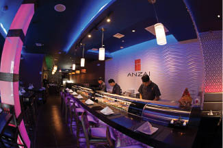 Anzai Asian Fusion interior with sushi chef; Asian restaurants in East Meadow, NY