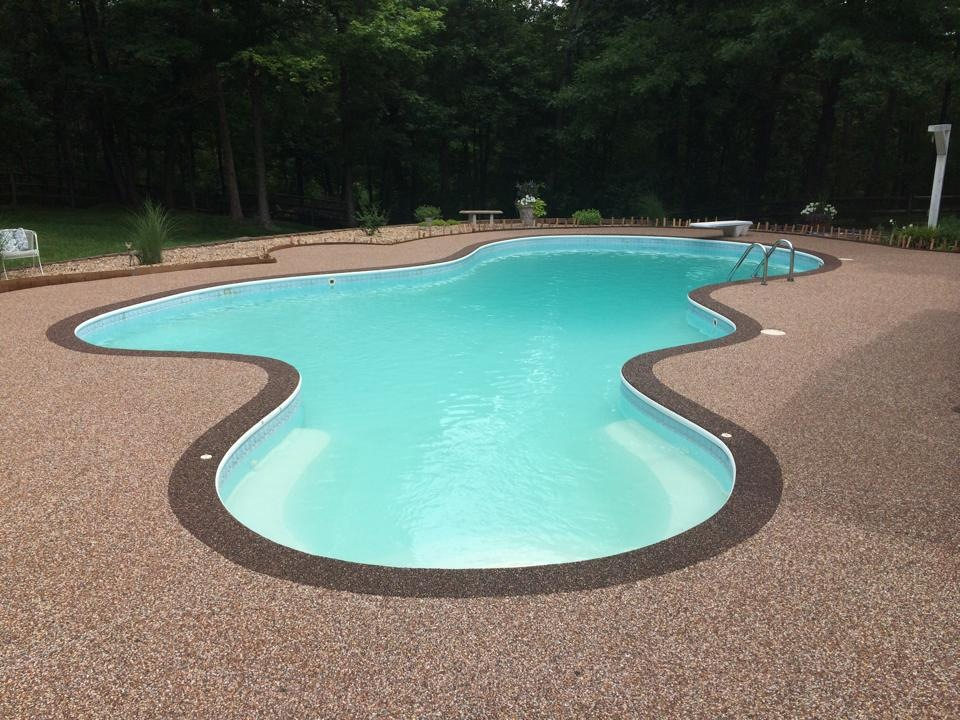 Pool deck resurfaced smoothly