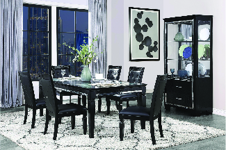 modern dining room set with contemporary decor