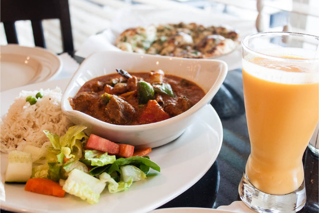 lamb dishes and fruit drinks