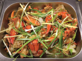 A popular Warwick favorite - fresh crab claws and veggies