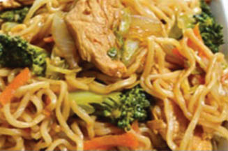 Chicken Lo Mein cooked on a hibachi grill