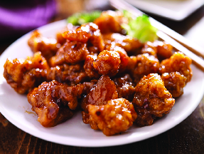 Delicious orange chicken at Asian Station Chinese Food in Mesa, AZ