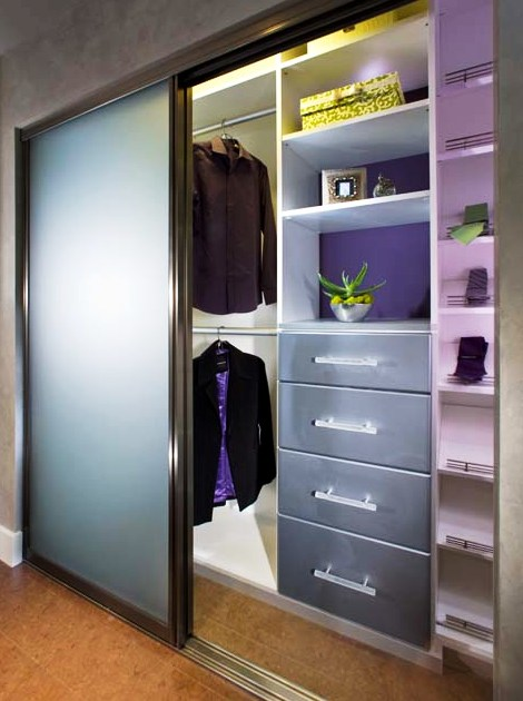 Lighted closet systems, shelving and sliding glass panels
