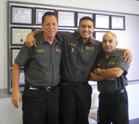 three auto service mechanics from Auto Tech Car Care; ASE-certified mechanics; auto repair shop