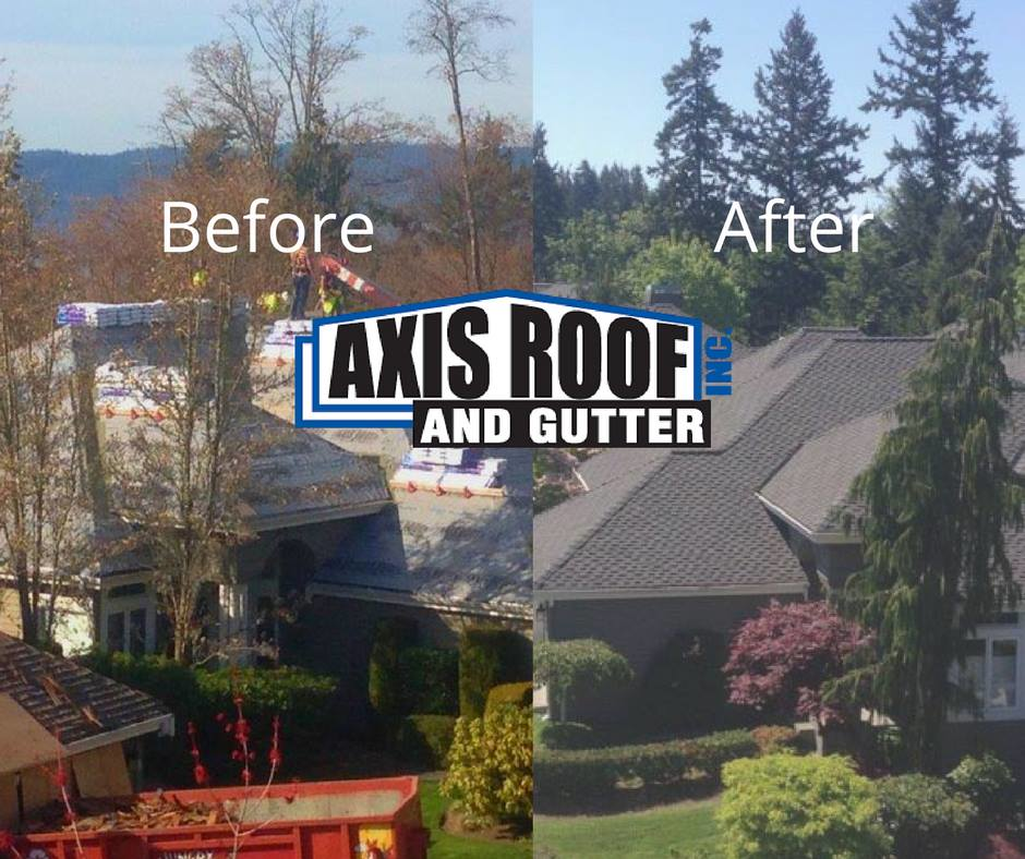 Axis Roof & Gutter in Marysville before and after shots of roof