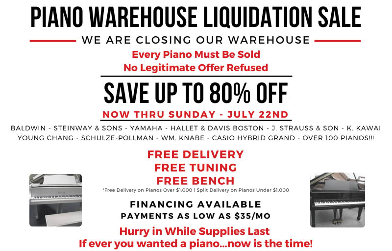 Piano Warehouse Liquidation Sale at B Natural Pianos & Music School in Rockaway NJ