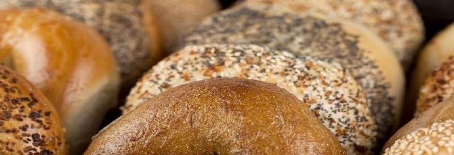 b & b bagels – plain poppyseed everything wheat banner
