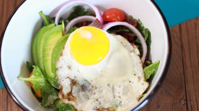 Bareburger Organic breakfast salad fried egg Hudson