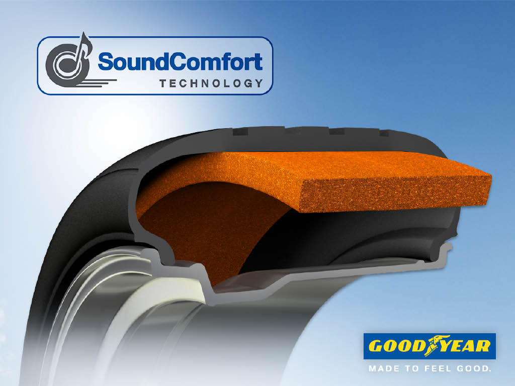 Goodyear SoundComfort Technology cuts interior noise levels without compromising performance.