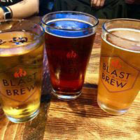 three glasses of beer at Blast 825 Brewery