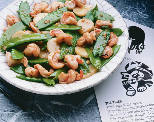 shrimp with snow peas water chestnuts