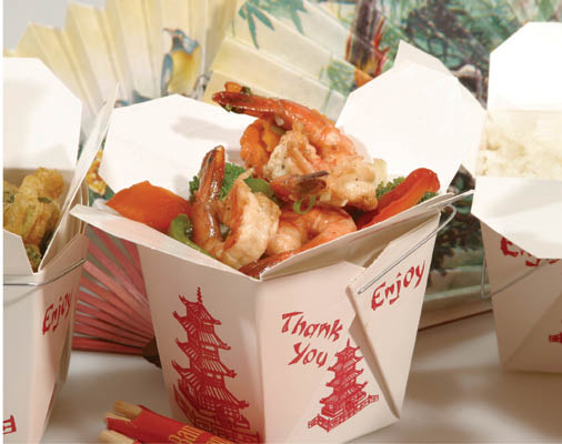 Garlic Shrimp and rice in Take Out Boxes