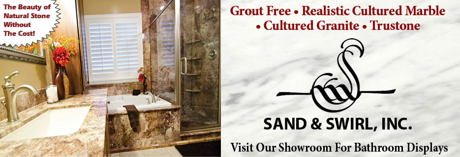 Sand & Swirl, Inc. Grout Free - Realistic Cultured Marble & Granite - Trustone