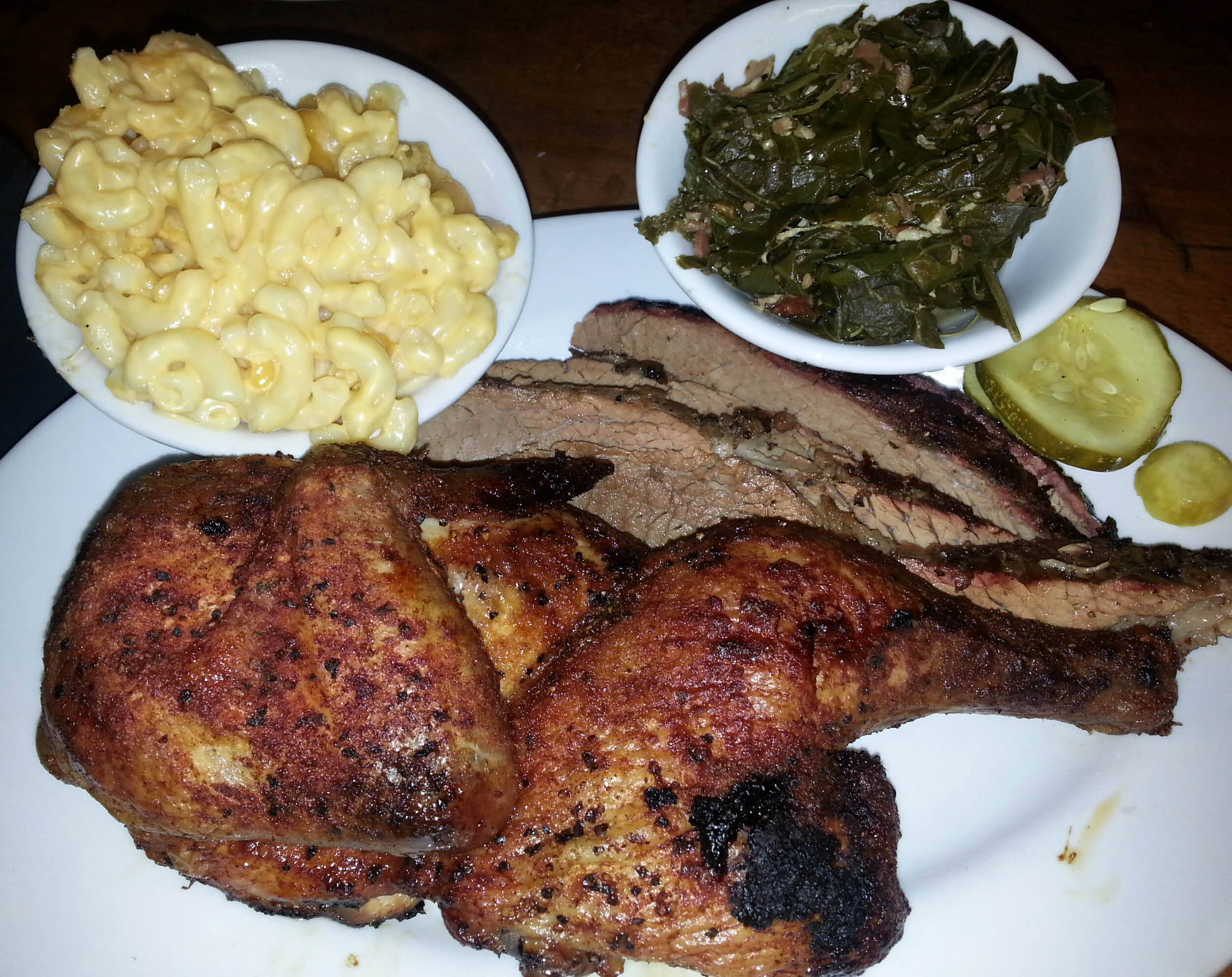 Smoked chicken and brisket meal