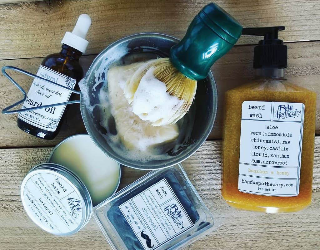 Beard balm, beard oil, shaving bars, and other beard and shaving products - all natural.