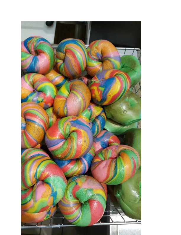 St. Patty's Day & Tye Dyed Bagels available at Bagel City Grille in Morris Plains NJ