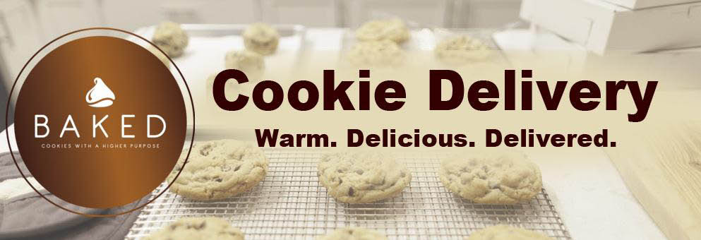 banner - Baked Lehi. Cookie Delivery. Warm. Delicious. Delivered.