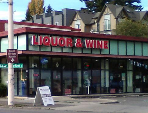 Outside Ballard Liquor & Wine liquor store in Seattle, WA - Ballard, WA