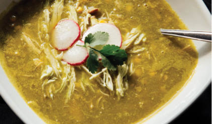 Pozole Verde de Pollo served at Bandidos Mexican Restaurant & Cantina in Shoreline, WA - Seattle Mexican restaurants near me - Mexican food in Shoreline - Mexican food coupons
