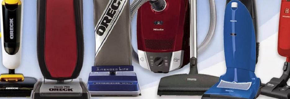 photo of several brands of upright vacuum cleaners sold by Bank's Vacuum