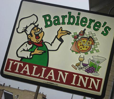 Picture of Barbiere's Casual Italian Restaurant near Cudahy, WI outside sign.