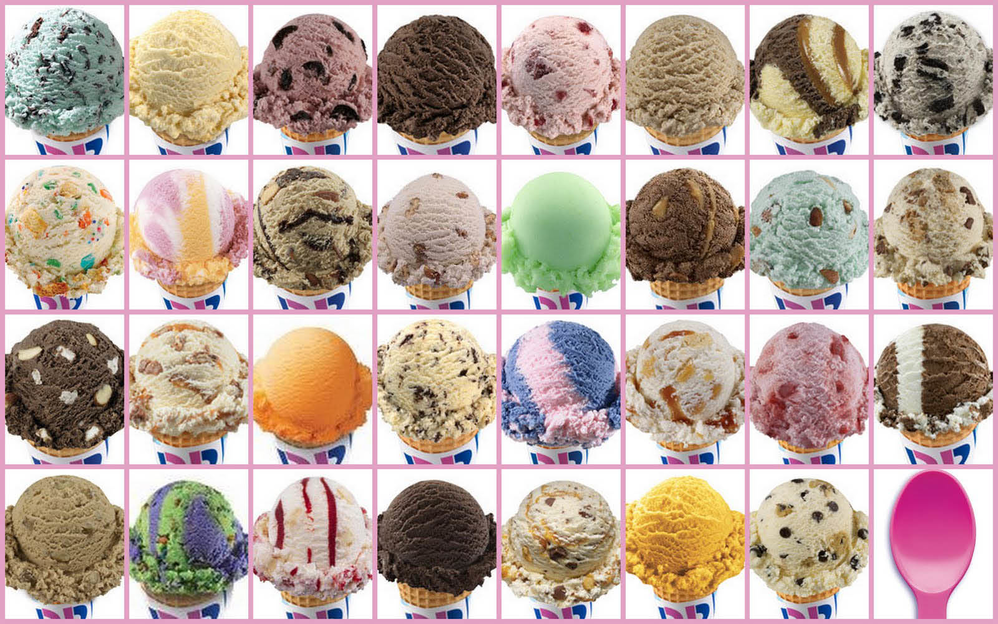 Grid of 31 unique Baskin Robbins ice cream flavors