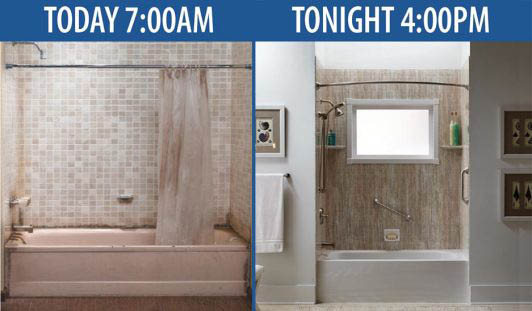 Before and after photos of an old bathroom transformed by Bathwraps
