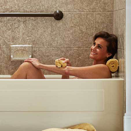 enjoy a hot soak in a beautiful new bathtub surrounded by color and texture from Bathwraps
