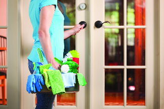 Women with cleaning supplies