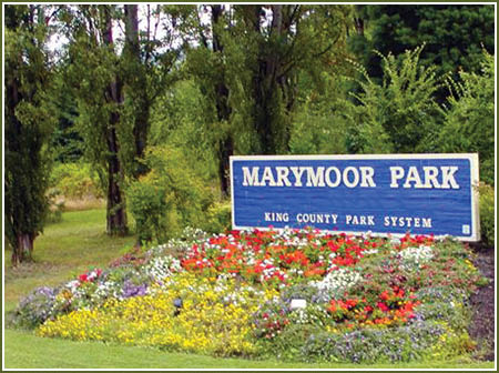 Marymoor Park sign - Bear Creek Coffee Co. is located inside Marymoor Park in Lot D next to the dog park and concert area
