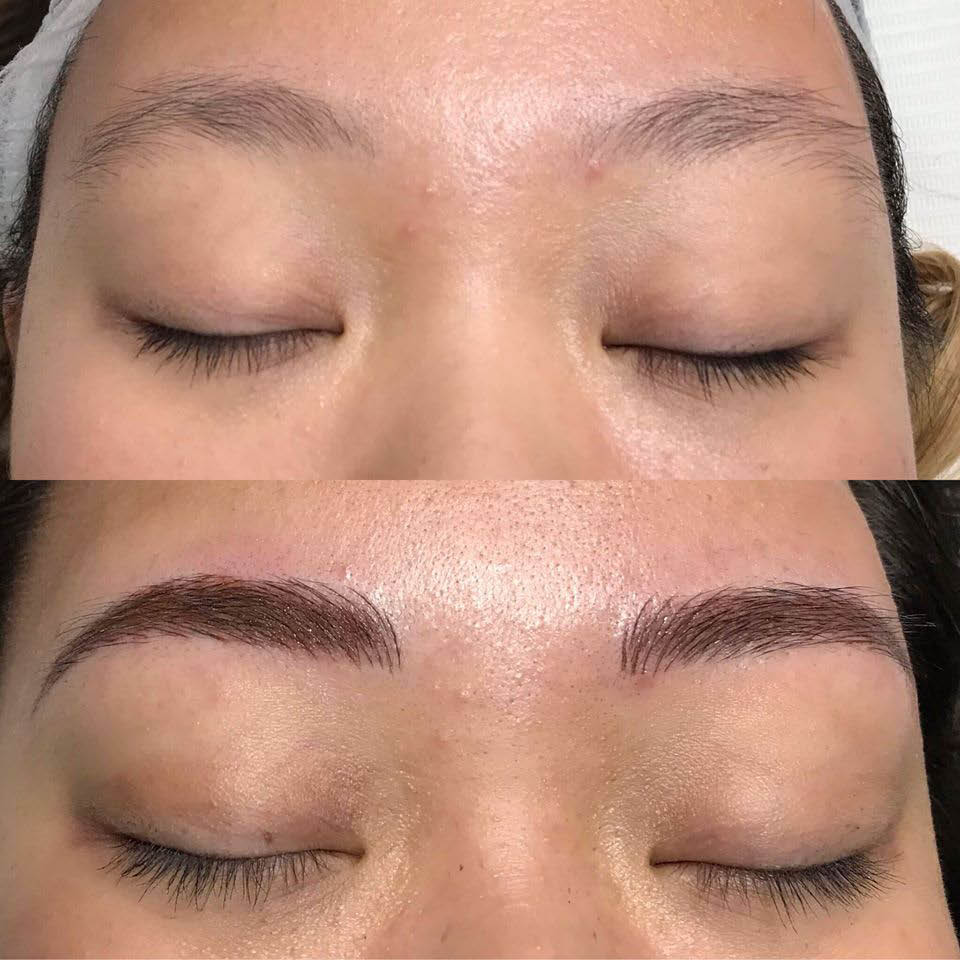 Before and after microblading photos of eyebrows - microblading services from Effortless Beauty Permanent Makeup in Lakewood, Washington - beauty coupons near me - permanent makeup