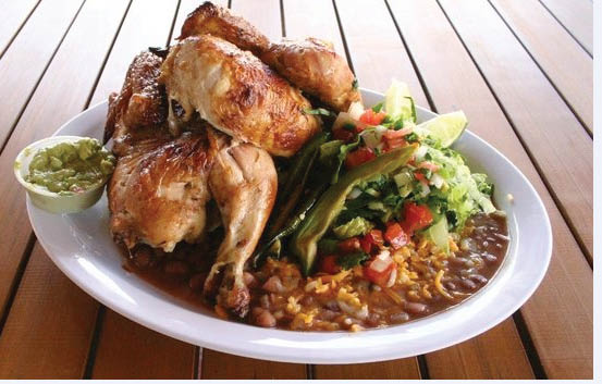 Rotisserie chicken meal with beans and rice near Mar Vista