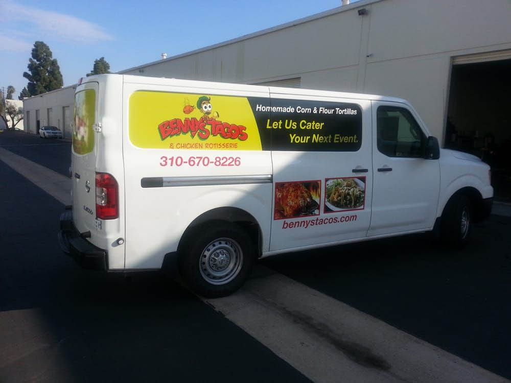 Benny's Tacos corporate vehicle with logos