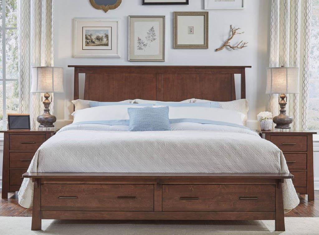 Wooden bedroom set, bed, nightstand, real wood, Woodcrafters, Woodbridge, VA