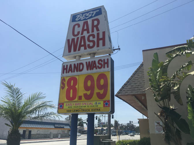 Inexpensive handwash and early birt special near Santa Fe Springs