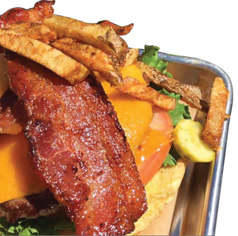 Bacon cheese burger with pickle  Build Your Own Burger Long Island