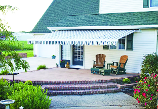 Tiered patio with awning