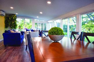 Glass-enclosed sun room