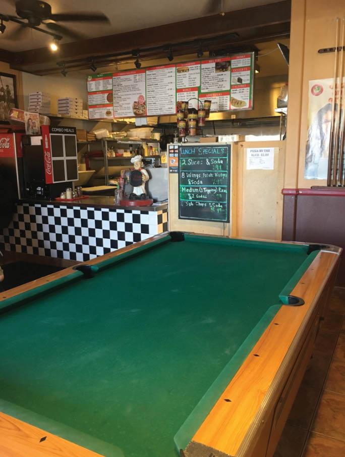 B Jojo's Pizzeria restaurant interior with pool table