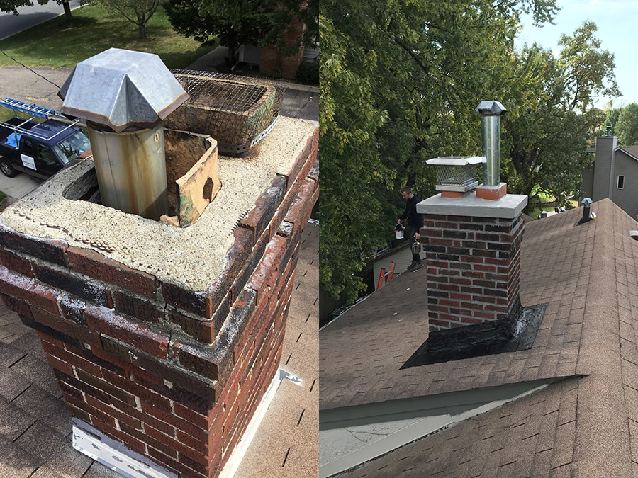 Before and after chimney cleaning by Blue Sky Chimney Sweeps