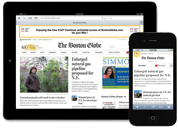 Boston Globe online subscription with news alerts